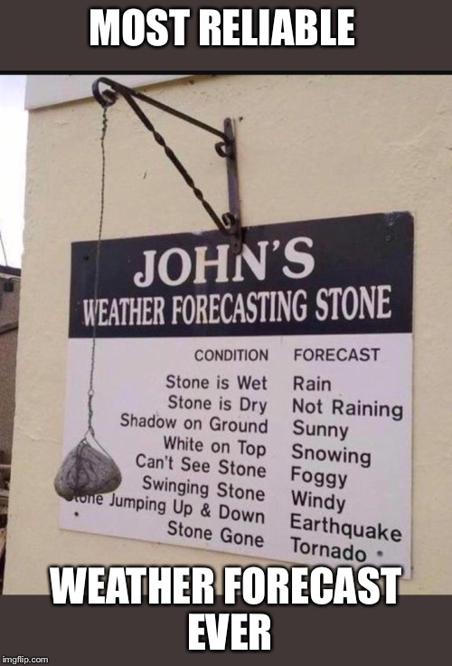 MOST RELIABLE WEATHER FORECAST EVER | image tagged in memes,weather | made w/ Imgflip meme maker