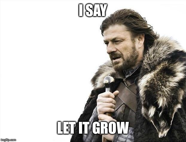 Brace Yourselves X is Coming Meme | I SAY LET IT GROW | image tagged in memes,brace yourselves x is coming | made w/ Imgflip meme maker