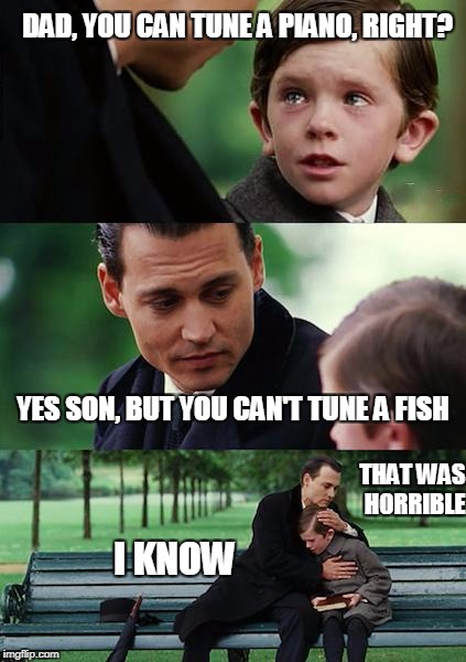 Dads, saying the worst jokes since they went to the dentist a tooth hurt-y | DAD, YOU CAN TUNE A PIANO, RIGHT? YES SON, BUT YOU CAN'T TUNE A FISH THAT WAS HORRIBLE I KNOW | image tagged in memes | made w/ Imgflip meme maker