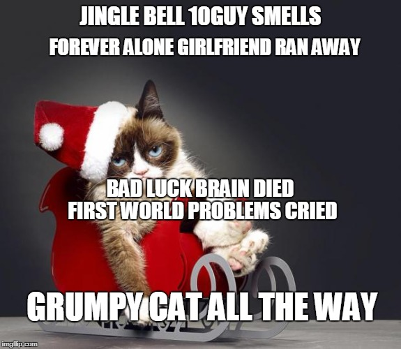 Grumpy Cat Christmas HD | JINGLE BELL 10GUY SMELLS FOREVER ALONE GIRLFRIEND RAN AWAY BAD LUCK BRAIN DIED FIRST WORLD PROBLEMS CRIED GRUMPY CAT ALL THE WAY | image tagged in grumpy cat christmas hd,memes,funny,ssby,christmas | made w/ Imgflip meme maker