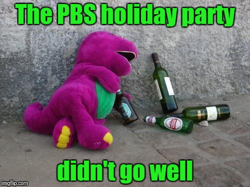 Barney regrets his behavior | The PBS holiday party didn't go well | image tagged in drunk barney,holiday,party,kids these days | made w/ Imgflip meme maker