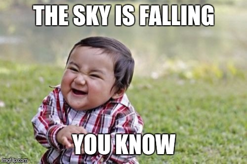 Evil Toddler Meme | THE SKY IS FALLING YOU KNOW | image tagged in memes,evil toddler | made w/ Imgflip meme maker