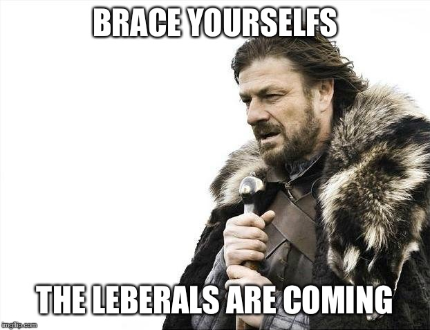 Brace Yourselves X is Coming Meme | BRACE YOURSELFS THE LEBERALS ARE COMING | image tagged in memes,brace yourselves x is coming | made w/ Imgflip meme maker