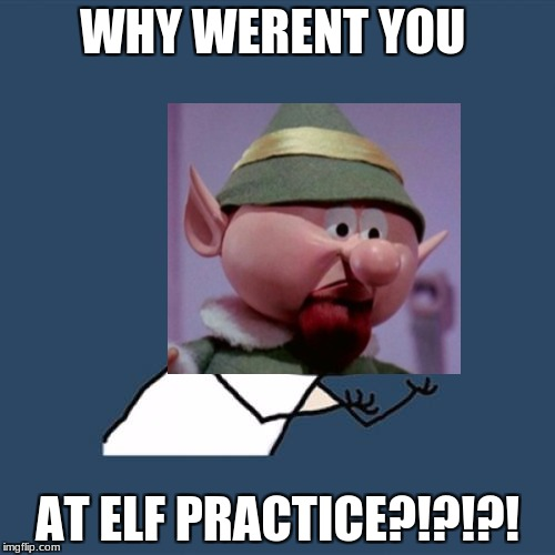 Y U No Meme | WHY WERENT YOU AT ELF PRACTICE?!?!?! | image tagged in memes,y u no | made w/ Imgflip meme maker