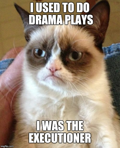 Grumpy Cat Meme | I USED TO DO DRAMA PLAYS I WAS THE EXECUTIONER | image tagged in memes,grumpy cat | made w/ Imgflip meme maker