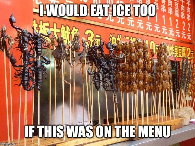I WOULD EAT ICE TOO IF THIS WAS ON THE MENU | made w/ Imgflip meme maker