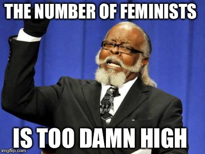 Too Damn High Meme | THE NUMBER OF FEMINISTS IS TOO DAMN HIGH | image tagged in memes,too damn high | made w/ Imgflip meme maker
