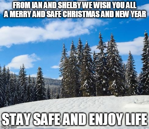 FROM IAN AND SHELBY WE WISH YOU ALL A MERRY AND SAFE CHRISTMAS AND NEW YEAR STAY SAFE AND ENJOY LIFE | image tagged in merry snow | made w/ Imgflip meme maker