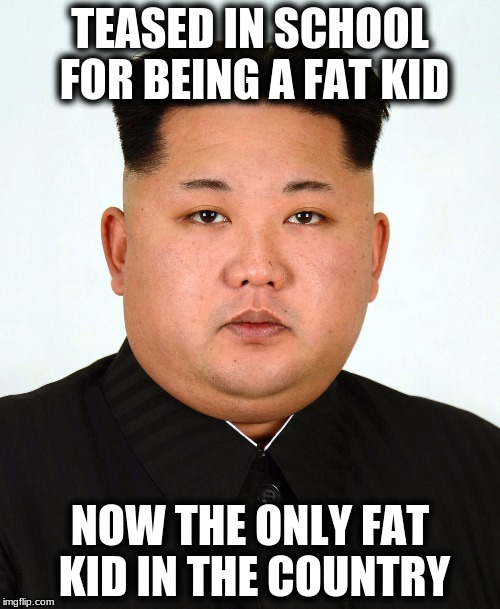 Must be Tough | TEASED IN SCHOOL FOR BEING A FAT KID NOW THE ONLY FAT KID IN THE COUNTRY | image tagged in memes,kim jong un,only fat kid | made w/ Imgflip meme maker