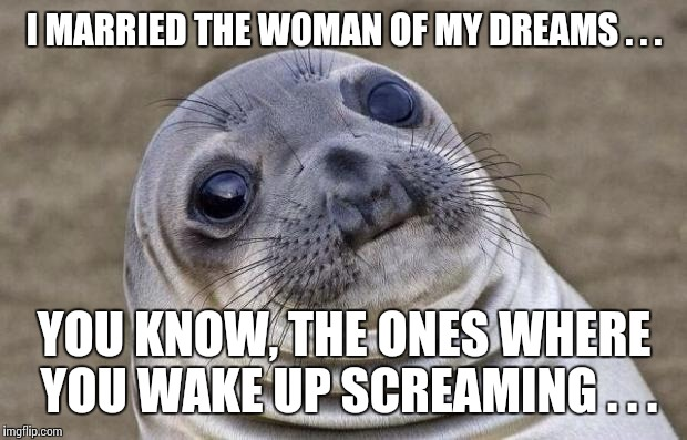 Awkward Moment Sealion Meme | I MARRIED THE WOMAN OF MY DREAMS . . . YOU KNOW, THE ONES WHERE YOU WAKE UP SCREAMING . . . | image tagged in memes,awkward moment sealion | made w/ Imgflip meme maker