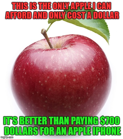 apple | THIS IS THE ONLY APPLE I CAN AFFORD AND ONLY COST A DOLLAR IT'S BETTER THAN PAYING $700 DOLLARS FOR AN APPLE IPHONE | image tagged in apple | made w/ Imgflip meme maker