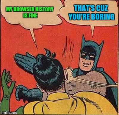 Batman Slapping Robin Meme | MY BROWSER HISTORY IS FINE THAT'S CUZ YOU'RE BORING | image tagged in memes,batman slapping robin | made w/ Imgflip meme maker