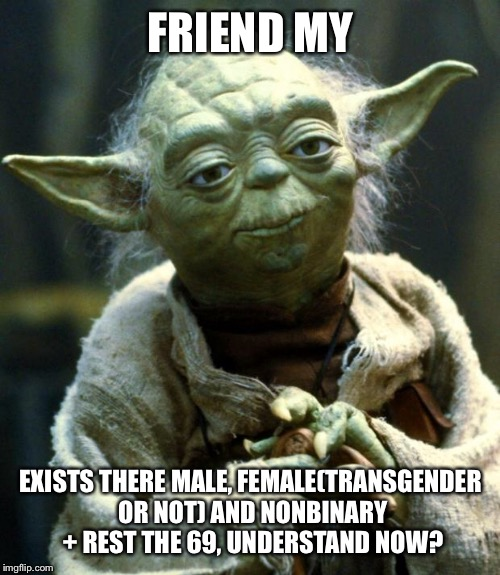 Star Wars Yoda Meme | FRIEND MY EXISTS THERE MALE, FEMALE(TRANSGENDER OR NOT) AND NONBINARY + REST THE 69, UNDERSTAND NOW? | image tagged in memes,star wars yoda | made w/ Imgflip meme maker