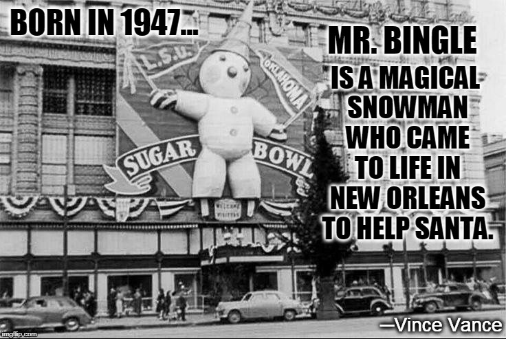 Christmas on Canal Street in New Olreans | ─Vince Vance | image tagged in vince vance,new orleans,maison blanche,canal street,mr bingle,sugar bowl 1950 | made w/ Imgflip meme maker