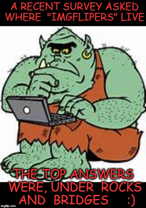 "we are all trolls.lol | A RECENT SURVEY ASKED WHERE  ""IMGFLIPERS"" LIVE THE TOP ANSWERS WERE, UNDER  ROCKS  AND  BRIDGES     :) 
