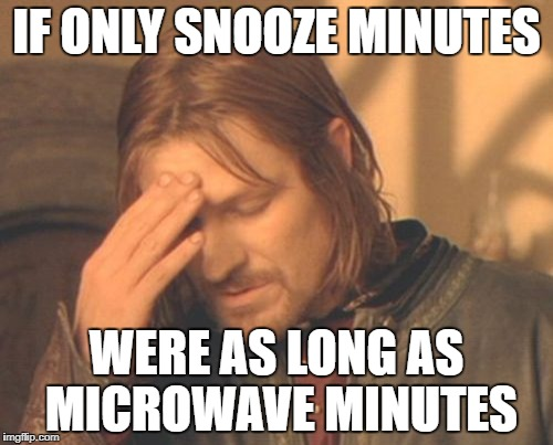 Frustrated Boromir Meme | IF ONLY SNOOZE MINUTES WERE AS LONG AS MICROWAVE MINUTES | image tagged in memes,frustrated boromir | made w/ Imgflip meme maker