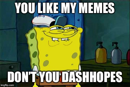 Dont You Squidward Meme | YOU LIKE MY MEMES DON'T YOU DASHHOPES | image tagged in memes,dont you squidward | made w/ Imgflip meme maker