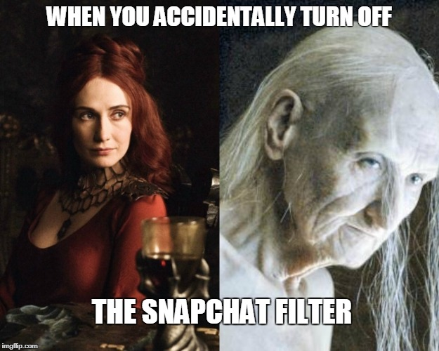 WHEN YOU ACCIDENTALLY TURN OFF THE SNAPCHAT FILTER | image tagged in snapchat,filter | made w/ Imgflip meme maker