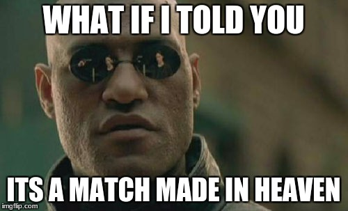 Matrix Morpheus Meme | WHAT IF I TOLD YOU ITS A MATCH MADE IN HEAVEN | image tagged in memes,matrix morpheus | made w/ Imgflip meme maker