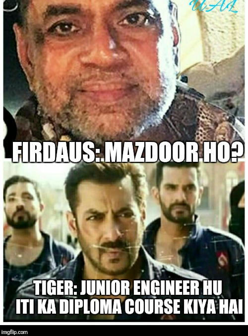 Tiger | FIRDAUS: MAZDOOR HO? TIGER: JUNIOR ENGINEER HU ITI KA DIPLOMA COURSE KIYA HAI | image tagged in engineer | made w/ Imgflip meme maker