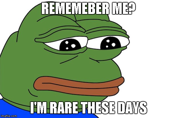 REMEMEBER ME? I'M RARE THESE DAYS | image tagged in rare pepe | made w/ Imgflip meme maker