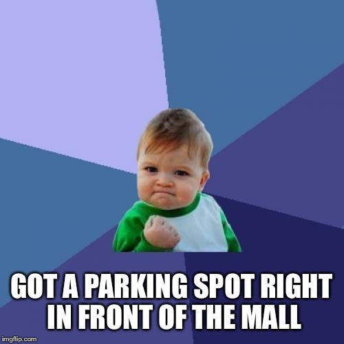 Success Kid Meme | GOT A PARKING SPOT RIGHT IN FRONT OF THE MALL | image tagged in memes,success kid | made w/ Imgflip meme maker