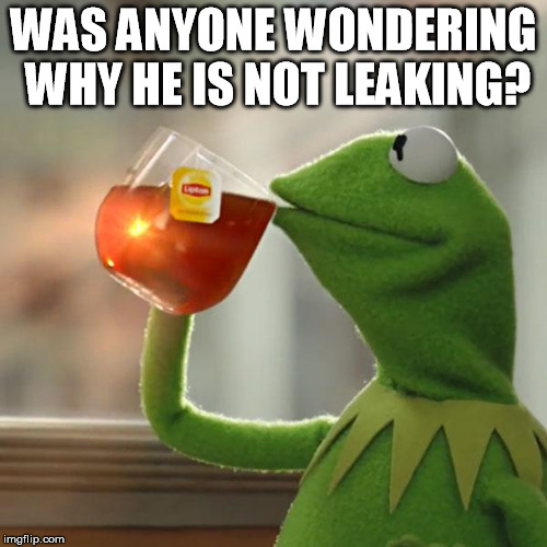 But Thats None Of My Business Meme | WAS ANYONE WONDERING WHY HE IS NOT LEAKING? | image tagged in memes,but thats none of my business,kermit the frog | made w/ Imgflip meme maker