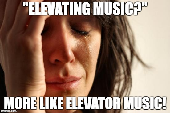 "First World Problems Meme | ""ELEVATING MUSIC?"" MORE LIKE ELEVATOR MUSIC! 