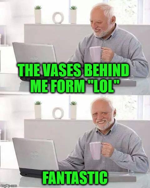 "Hide the Pain Harold Meme | THE VASES BEHIND ME FORM ""LOL"" FANTASTIC 