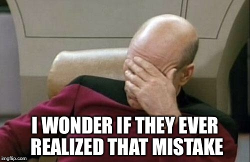 Captain Picard Facepalm Meme | I WONDER IF THEY EVER REALIZED THAT MISTAKE | image tagged in memes,captain picard facepalm | made w/ Imgflip meme maker