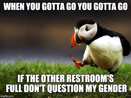 WHEN YOU GOTTA GO YOU GOTTA GO IF THE OTHER RESTROOM'S FULL DON'T QUESTION MY GENDER | made w/ Imgflip meme maker