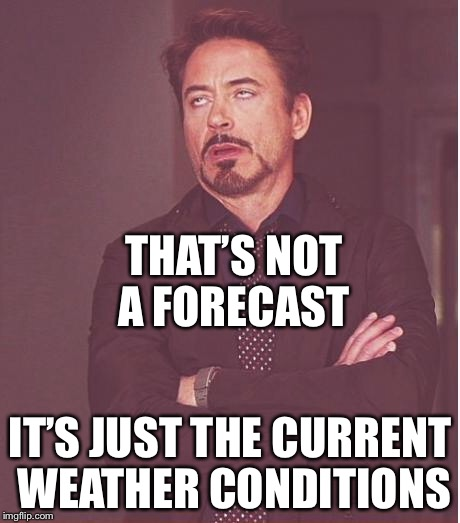 Face You Make Robert Downey Jr Meme | THAT'S NOT A FORECAST IT'S JUST THE CURRENT WEATHER CONDITIONS | image tagged in memes,face you make robert downey jr | made w/ Imgflip meme maker