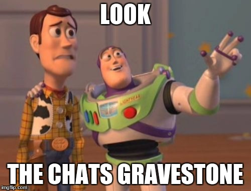 X, X Everywhere Meme | LOOK THE CHATS GRAVESTONE | image tagged in memes,x x everywhere | made w/ Imgflip meme maker