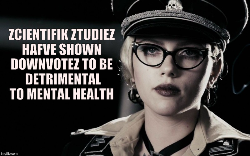 Scarlett Johansson, Silkin Floss,  The Spirit | ZCIENTIFIK ZTUDIEZ HAFVE SHOWN DOWNVOTEZ TO BE  DETRIMENTAL  TO MENTAL HEALTH | image tagged in scarlett johansson,silkin floss,the spirit | made w/ Imgflip meme maker