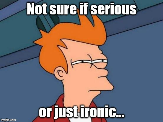 This goes through my head sometimes when reading memes. | Not sure if serious or just ironic... | image tagged in memes,futurama fry,ironic,serious | made w/ Imgflip meme maker