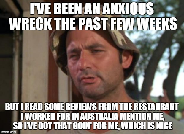 So I Got That Goin For Me Which Is Nice Meme | I'VE BEEN AN ANXIOUS WRECK THE PAST FEW WEEKS BUT I READ SOME REVIEWS FROM THE RESTAURANT I WORKED FOR IN AUSTRALIA MENTION ME, SO I'VE GOT  | image tagged in memes,so i got that goin for me which is nice,AdviceAnimals | made w/ Imgflip meme maker