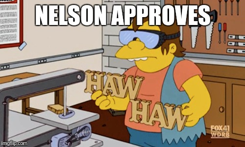 NELSON APPROVES | made w/ Imgflip meme maker
