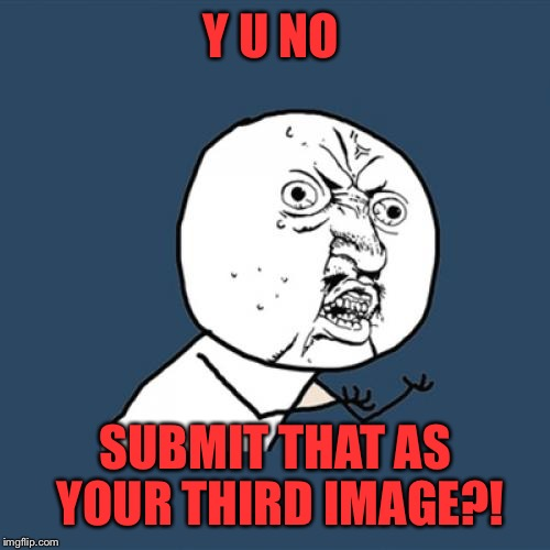 Y U No Meme | Y U NO SUBMIT THAT AS YOUR THIRD IMAGE?! | image tagged in memes,y u no | made w/ Imgflip meme maker