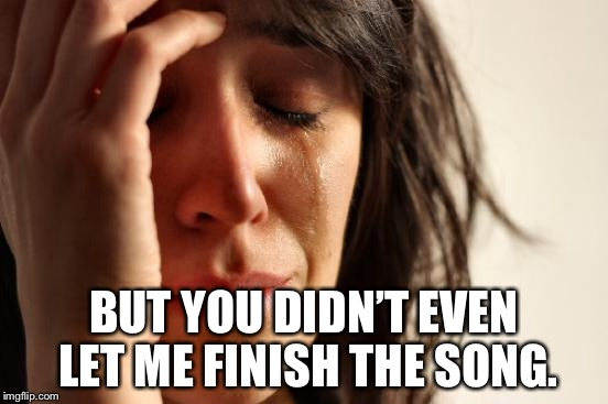 First World Problems Meme | BUT YOU DIDN'T EVEN LET ME FINISH THE SONG. | image tagged in memes,first world problems | made w/ Imgflip meme maker