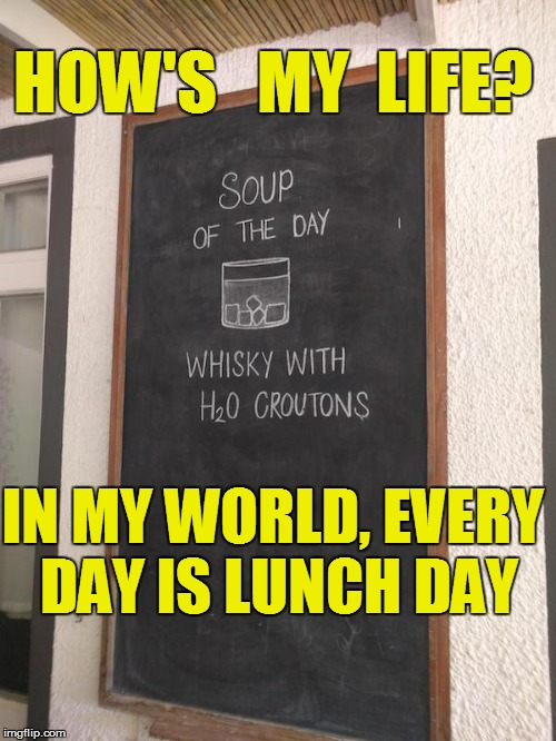 I hate my life! | HOW'S   MY  LIFE? IN MY WORLD, EVERY DAY IS LUNCH DAY | image tagged in funny | made w/ Imgflip meme maker