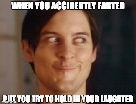 Spiderman Peter Parker Meme | WHEN YOU ACCIDENTLY FARTED BUT YOU TRY TO HOLD IN YOUR LAUGHTER | image tagged in memes,spiderman peter parker,fart,holding laughter | made w/ Imgflip meme maker