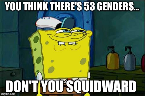 Dont You Squidward Meme | YOU THINK THERE'S 53 GENDERS... DON'T YOU SQUIDWARD | image tagged in memes,dont you squidward | made w/ Imgflip meme maker