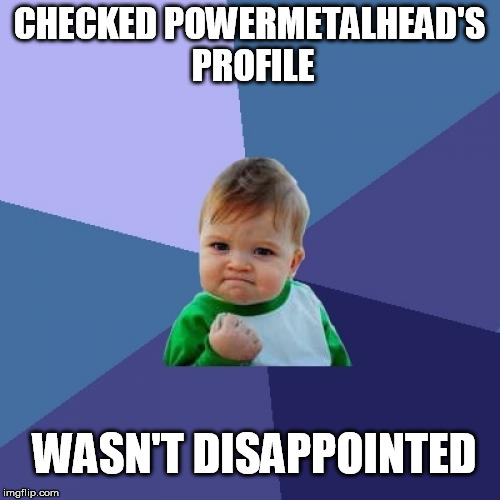 Success Kid Meme | CHECKED POWERMETALHEAD'S PROFILE WASN'T DISAPPOINTED | image tagged in memes,success kid | made w/ Imgflip meme maker