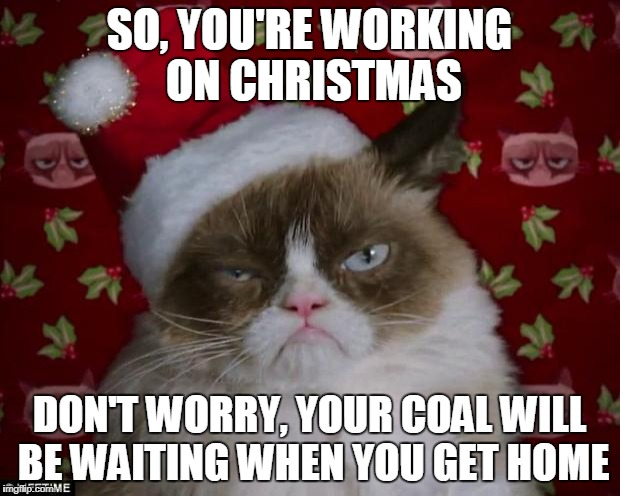If you are working on Christmas, leave a comment.  I will read them...at work...on Christmas | SO, YOU'RE WORKING ON CHRISTMAS DON'T WORRY, YOUR COAL WILL BE WAITING WHEN YOU GET HOME | image tagged in grumpy cat christmas | made w/ Imgflip meme maker
