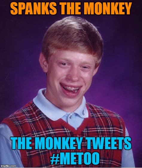 Monkey Business | SPANKS THE MONKEY THE MONKEY TWEETS   #METOO | image tagged in memes,monkey business,bad luck brian,metoo | made w/ Imgflip meme maker