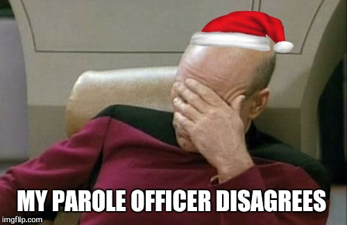 Captain Picard Facepalm Meme | MY PAROLE OFFICER DISAGREES | image tagged in memes,captain picard facepalm | made w/ Imgflip meme maker