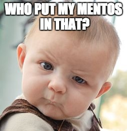 Skeptical Baby Meme | WHO PUT MY MENTOS IN THAT? | image tagged in memes,skeptical baby | made w/ Imgflip meme maker