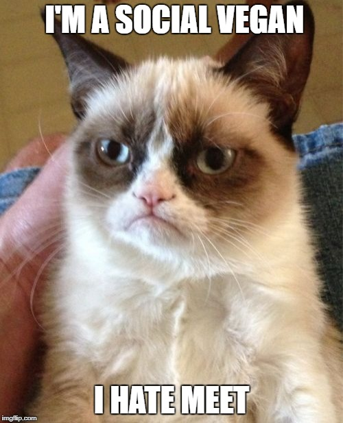 Grumpy Cat Meme | I'M A SOCIAL VEGAN I HATE MEET | image tagged in memes,grumpy cat | made w/ Imgflip meme maker