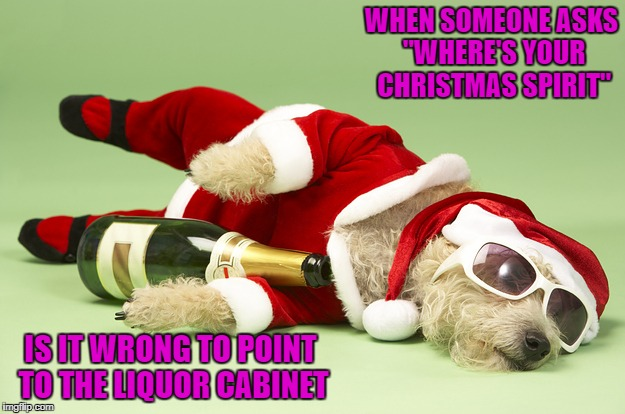 "I've got plenty of Christmas Spirit!!! | WHEN SOMEONE ASKS ""WHERE'S YOUR CHRISTMAS SPIRIT"" IS IT WRONG TO POINT TO THE LIQUOR CABINET 