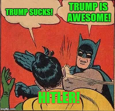 Batman Slapping Robin Meme | TRUMP SUCKS! TRUMP IS AWESOME! HITLER! | image tagged in memes,batman slapping robin | made w/ Imgflip meme maker